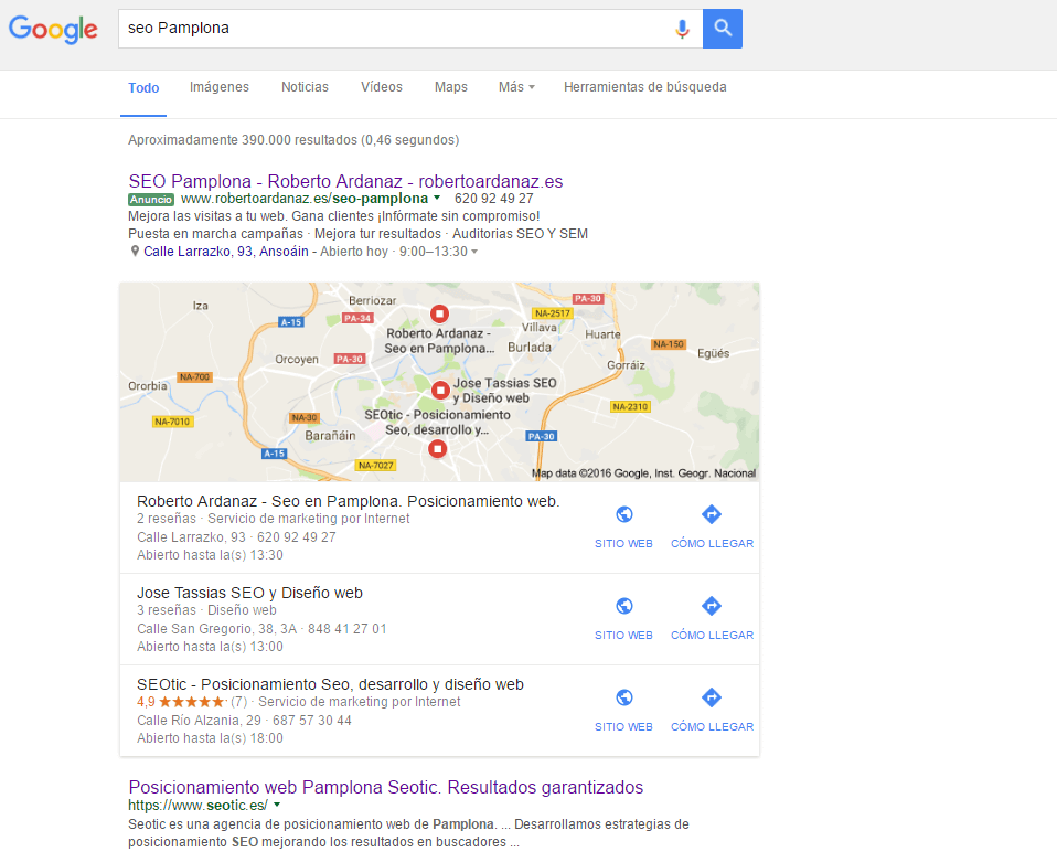 Seo Pamplona Posicionamiento Local Google